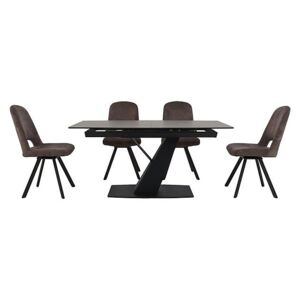 Enterprise Dining Table and 4 Swivel Side Chairs Dining Set