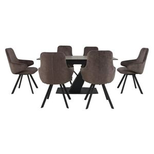 Enterprise Dining Table and 6 Swivel Arm Chairs Dining Set
