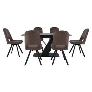 Enterprise Dining Table and 6 Swivel Side Chairs Dining Set
