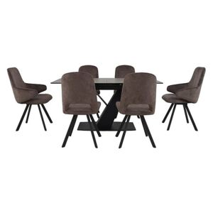 Enterprise Dining Table, 4 Swivel Side Chairs and 2 Swivel Arm Chairs Dining Set
