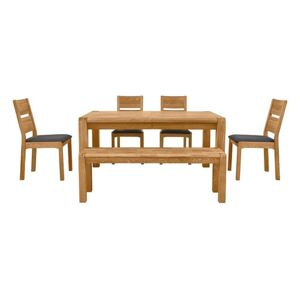 Bakerloo Large Extending Table, 4 Chairs and Large Bench Dining Set