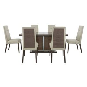 ALF - Vito Large Extending Dining Table and 6 Cream Faux Leather Dining Chairs