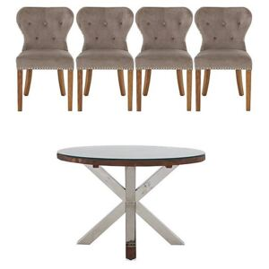 Chennai Round Table and 4 Upholstered Chairs Dining Set - Brown