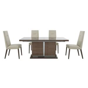 ALF - Vito Large Extending Dining Table and 4 Cream Faux Leather Dining Chairs