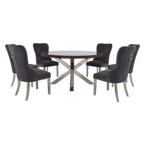 Chennai Round Table and 6 Quilted Chairs Dining Set - Grey