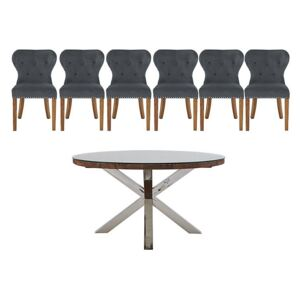 Chennai Round Table and 6 Upholstered Chairs Dining Set - Grey