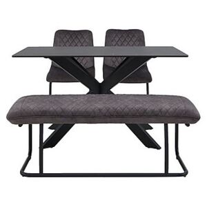 Creed Small Table, 2 Chairs and Low Bench Dining Set