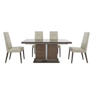 ALF - Vito Small Extending Dining Table and 4 Cream Faux Leather Dining Chairs