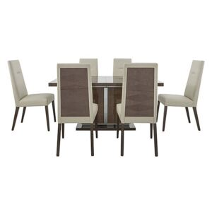 ALF - Vito Small Extending Dining Table and 6 Cream Faux Leather Dining Chairs