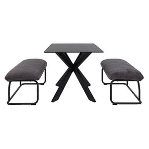 Creed Small Table and 2 Low Benches Dining Set