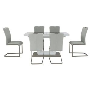 Bianco Small Extending Dining Table and 6 Chairs Dining Set
