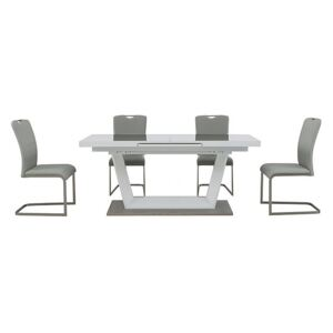 Bianco Large Extending Dining Table and 4 Chairs Dining Set