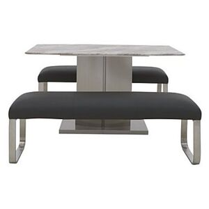 Cocoon Dining Table and 2 Low Benches - Black