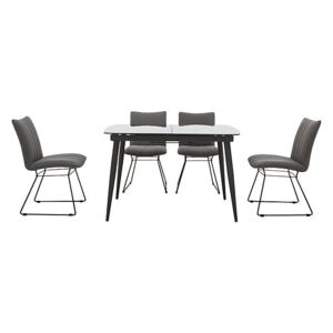Ace Small Extending Dining Table and 4 Chairs - Grey