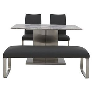 Cocoon Dining Table, 2 Chairs and Low Bench - Black