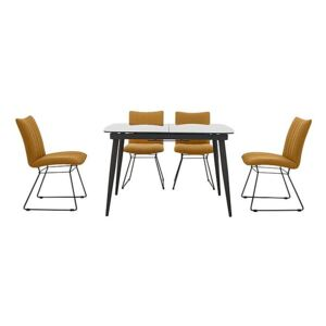 Ace Small Extending Dining Table and 4 Chairs - Yellow
