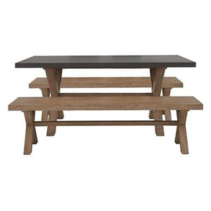 Fusion Large Table and 2 Dining Benches Set