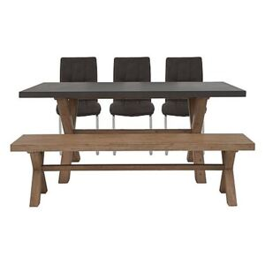 Fusion Large Table, 3 Chairs and Dining Bench Set