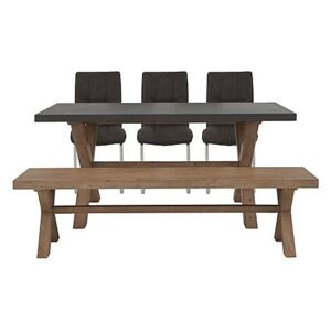 Fusion Small Table, 3 Chairs and Dining Bench Set