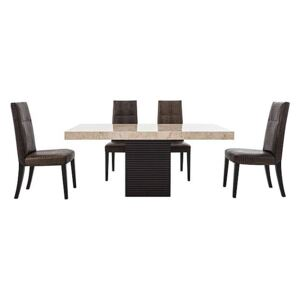 Stone International - Adriana Rectangular Marble Dining Table with 4 Dining Chairs