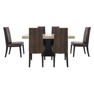 Stone International - Adriana Rectangular Marble Dining Table with 6 Dining Chairs