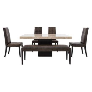 Stone International - Adriana Rectangular Marble Dining Table with 4 Dining Chairs and Bench