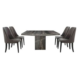 Stone International - Carmela Rectangular Marble Dining Table with 4 Tall Dining Chairs