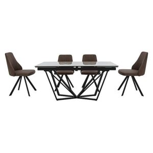Aquila Extending Dining Table and 4 Swivel Dining Chairs - Brown