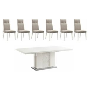 ALF - Fascino Extending Dining Table and 6 Faux Leather Dining Chairs - White