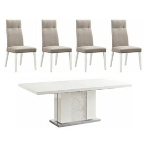 ALF - Fascino Extending Dining Table and 4 Faux Leather Dining Chairs - White
