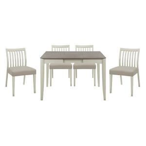 Skye Small Table and 4 Slatted Chairs - Grey