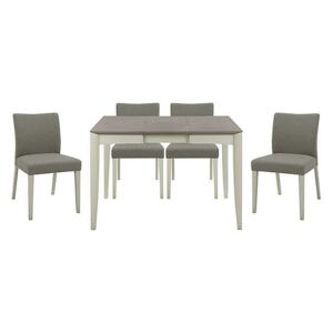 Skye Small Table and 4 Upholstered Chairs - Grey