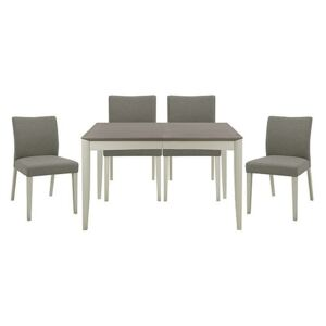 Skye Medium Table and 4 Upholstered Chairs - Grey