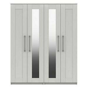 London Bedrooms - Fenchurch 4 Door Wardrobe with Mirrors - White