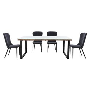 Noir Dining Table with U-Shaped Legs with 4 Chairs Dining Set - 220-cm