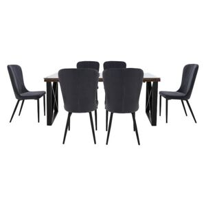 Noir Dining Table with X-Shaped Legs with 6 Chairs Dining Set - 220-cm