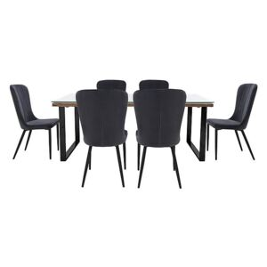 Noir Dining Table with U-Shaped Legs with 6 Chairs Dining Set - 220-cm