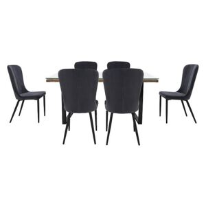 Noir Dining Table with U-Shaped Legs with 6 Chairs Dining Set - 180-cm