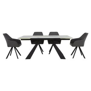 Chamonix Extending Dining Table and 4 Chairs - White