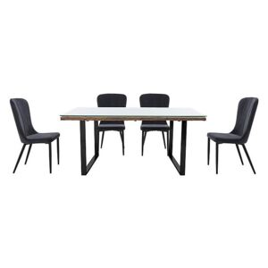 Noir Dining Table with U-Shaped Legs with 4 Chairs Dining Set - 180-cm