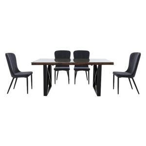 Noir Dining Table with X-Shaped Legs with 4 Chairs Dining Set - 180-cm