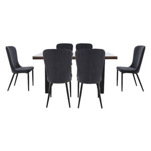 Noir Dining Table with X-Shaped Legs with 6 Chairs Dining Set - 180-cm