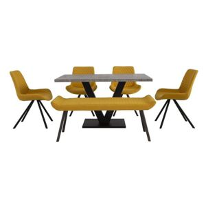 Rocket Dining Table, 4 Chairs and Low Bench Dining Set