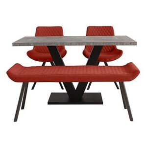 Rocket Dining Table, 2 Chairs and Low Bench Dining Set