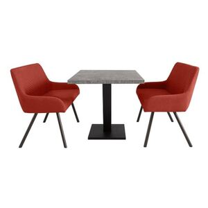 Rocket Dining Table and 2 High Back Benches Dining Set