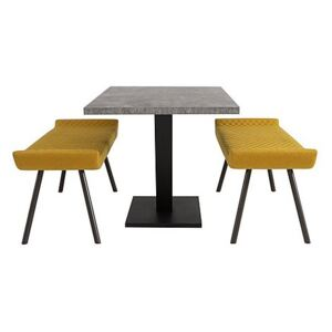 Rocket Dining Table and 2 Low Benches Dining Set