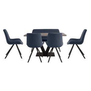 Rocket Dining Table, 4 Chairs and High Back Bench Dining Set