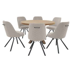 Detroit Round Dining Table and 6 Detroit Dining Chairs - Grey