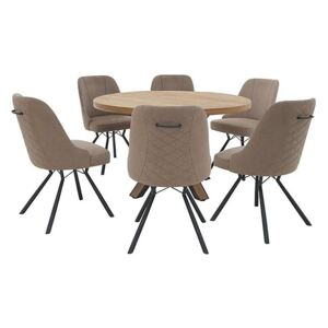 Detroit Round Dining Table and 6 Detroit Dining Chairs - Beige