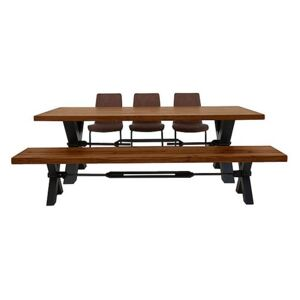 Terra Dining Table, 3 Cognac Chairs and Bench Dining Set